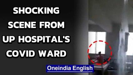 UP: Water gushes through roof of Bareilly hospital's coronavirus ward   Oneindia News