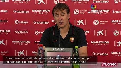 Julen Lopetegui, entrenador del Sevilla FC valora la actuación de su equipo al acabar la liga