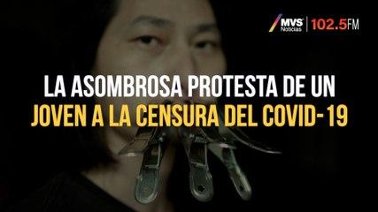 La asombrosa protesta de un joven a la censura del Covid-19
