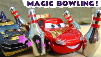 Hot Wheels Magic Bowling with Disney Pixar Cars 3 Lightning McQueen and DC Comics Batman and the Joker plus the Funny Funlings in this Family Friendly Full Episode English Toy Story Race for Kids