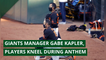 Giants manager Gabe Kapler, players kneel during anthem, and other top stories from July 23, 2020.