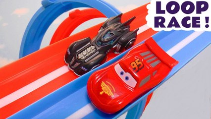 Hot Wheels Loop Funlings Race with Disney Cars 3 Lightning McQueen versus DC Comics Batman and the Joker in this Family Friendly Full Episode English Toy Story for Kids