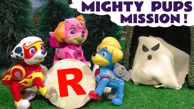 Paw Patrol Mighty Pups Guess the Ghost Spooky Challenge with Disney Cars McQueen and DC Comics Batman in this Learn English Family Friendly Full Episode English Toy Story For Kids