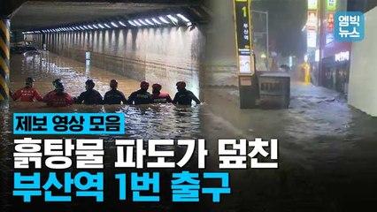 [엠빅뉴스] 역대급 물 폭탄에 만조까지 겹쳤다! 삽시간에 흙바다로 변해버린 부산 시내.
