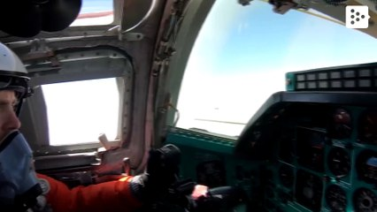 Two Russian Tu-22 bombers fly over the Black Sea