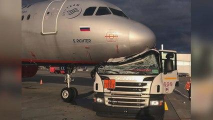 Tankwagen kollidiert mit Flugzeug