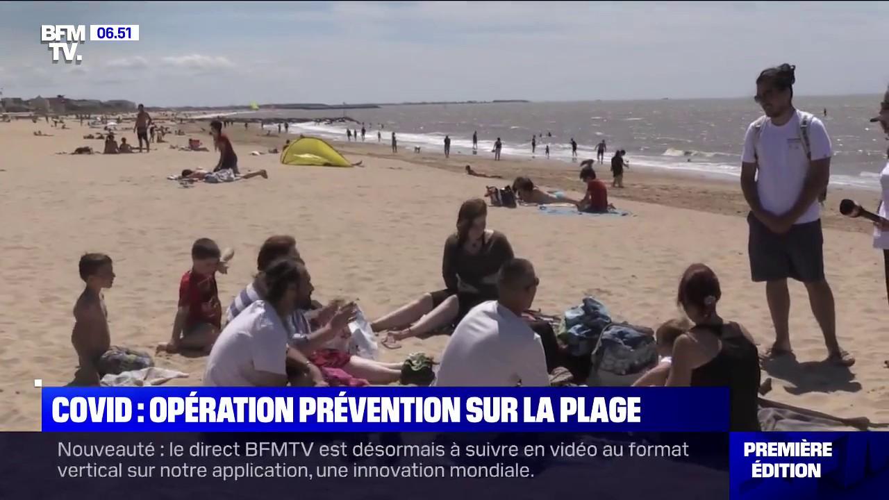 Covid-19 : des opérations de prévention pour respecter les gestes barrières sont menées sur des plages