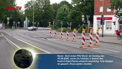 2020-08-09_Neuss - Fahrbahn nach PKW Brand beschädigt - Staugefahr nach Sperrung