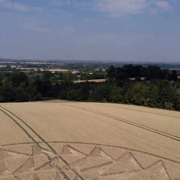 Drone footage showcases impressive crop circle in UK countryside