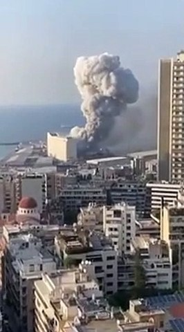 Footage of the explosion in Beirut  Lebanon on August 4  2020