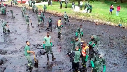Thousands of Mauritians try to protect their island from the oil spill