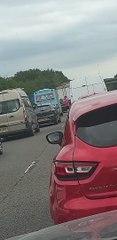 Ice Cream Truck Serving Customers on Closed Motorway