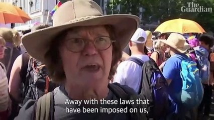 'Masks make us slaves': thousands march in Berlin anti-lockdown protest – video