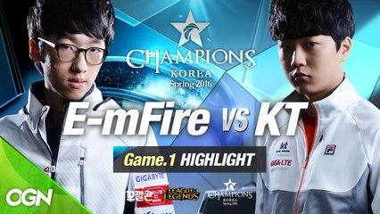 [H/L 2016.02.03] E-mFire vs KT Game 1 - RO1 l 롯데 꼬깔콘 LoL Champions Korea Spring 2016