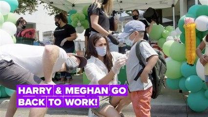 Harry and Meghan volunteer at LA charity drive-through