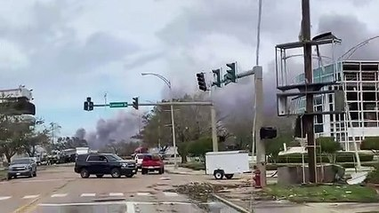 Un habitant de Lake Charles filme sa ville après le passage de l'ouragan Laura