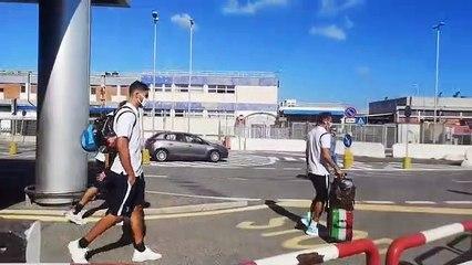 Lazio a Fiumicino: la partenza per Auronzo di Cadore