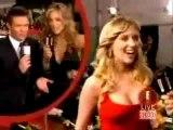 Scarlett Johansson getting felt up at award show.