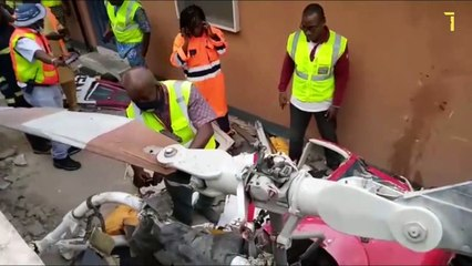 Helicopter Crashes Into Building In Ikeja, Lagos