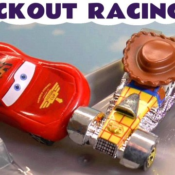 Hot Wheels Knockout Racing with Disney Pixar Cars Lightning McQueen versus the Funny Funlings and Marvel Avengers in these Full Episodes Funling Race Toy Story Videos for Kids from a Kid Friendly Family Channel