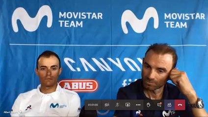 Alejandro Valverde y Enric Mas (Movistar Team), en rueda de prensa