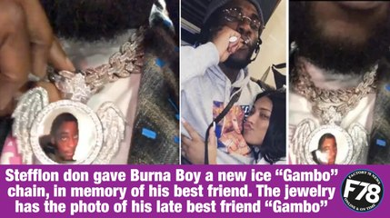 """F78NEWS: Stefflon don gave Burna Boy a new ice """"Gambo"""" chain, in memory of his best friend. The jewelry has the photo of his late best friend """"Gambo"""""""