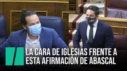 La cara de Pablo Iglesias frente a esta afirmación de Santiago Abascal