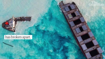 Mauritius oil spill: ship breaks up and remaining fuel spreads into ocean – video
