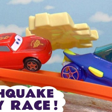 Hot Wheels Earthquake Challenge with Disney Pixar Cars 3 Lightning McQueen with PJ Masks  Marvel Avengers and Finding Dory in this Toy Story Race Full Episode English Story for Kids