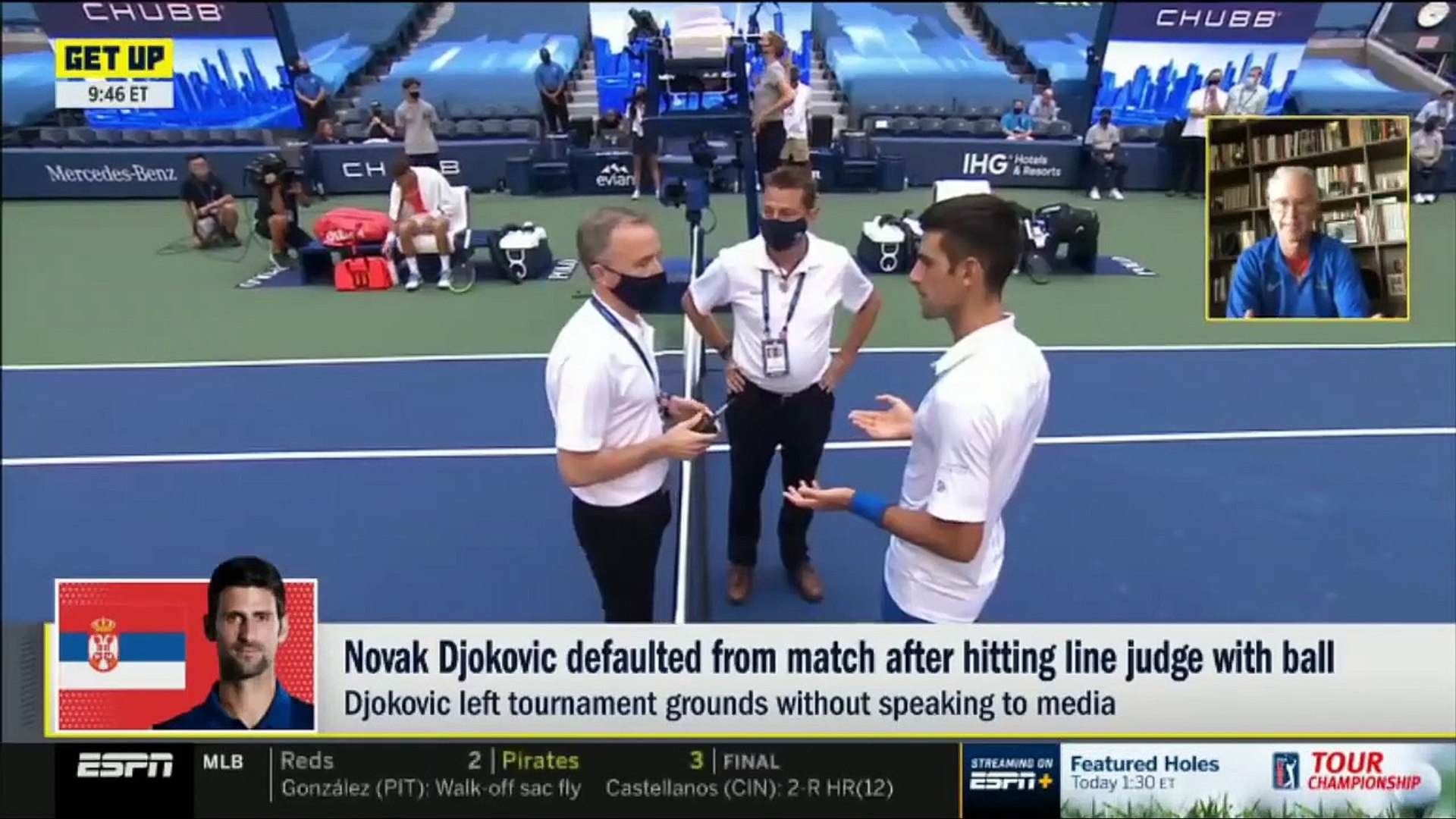 John Mcenroe Shocked By Novak Djokovic Defaulted From Match After Hitting Line Judge With Ball Video Dailymotion