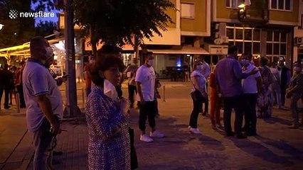 Gordana Siljanovska, former presidential candidate, takes part in protests in Macedonia