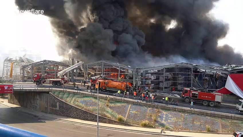 Intense footage of second massive fire at Beirut's port
