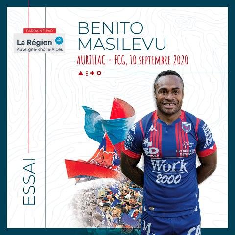 Video : Video - L'essai marqué par Benito Masilevu à Aurillac, saison 2020-2021