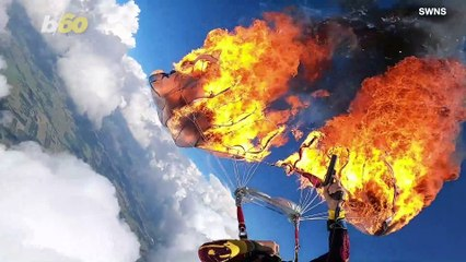 Watch The Terrifying Moment A Paraglider Sets Fire To His Parachute Before Safely Landing on the Ground