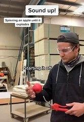 pomme en rotation à haute vitesse