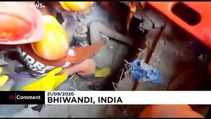 Mortífero derrumbe de un edificio en Bhiwandi, cerca de Bombay