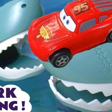 Hot Wheels Shark Challenge Racing with Disney Pixar Cars 3 Lightning McQueen versus DC Comics Batman and the Funny Funlings in this Family Friendly Full Episode English Race Story for Kids