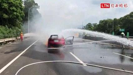 國3關西南下80K處車禍引發火燒車 1人輕傷