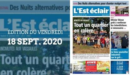 L'Est-Éclair: Sommaire de l'Édition du vendredi 18 septembre 2020