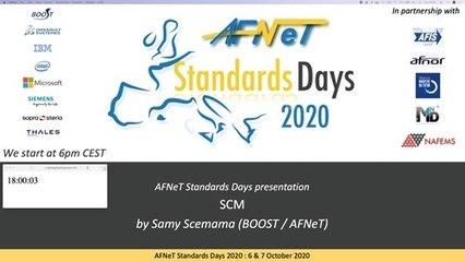8ème Webinaire « AFNeT Standards Days » le 17/09/2020 à 18H sur le SCM