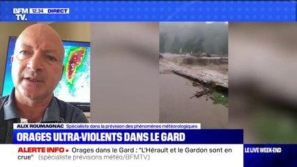 """Orages dans le Gard: selon le spécialiste météo Alix Roumagnac, """"il faut faire preuve de la plus grande prudence"""" dans la zone"""