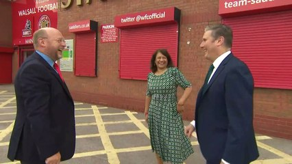 Keir Starmer visits Walsall Football Club ahead of reopening