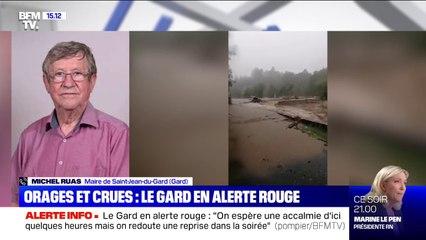 """Orages dans le Gard: le maire de Saint-Jean-du-Gard, Michel Ruas, pense qu'il y aura """"énormément de dégâts"""""""