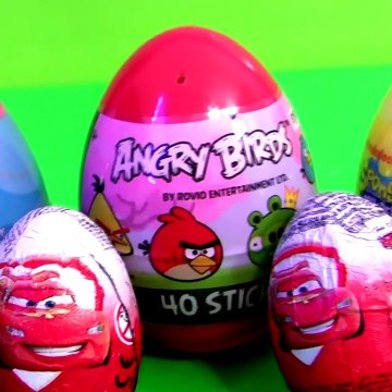 Disney Cars Egg Surprise with Angry Birds Spongebob Holiday Edition