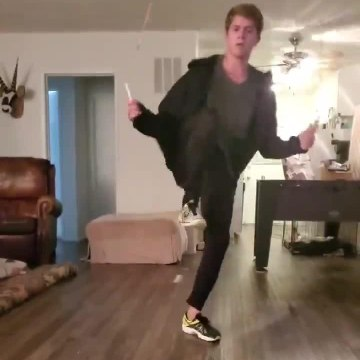 Guy Shows Cool Jump Rope Routine With Tricks While Skipping to the Music