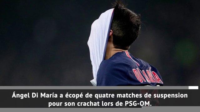 PSG - Di Maria suspendu 4 matches