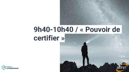 AFREF jeudi 17 09 2020 La nouvelle organisation de la certification 3. intrevention de France compétences
