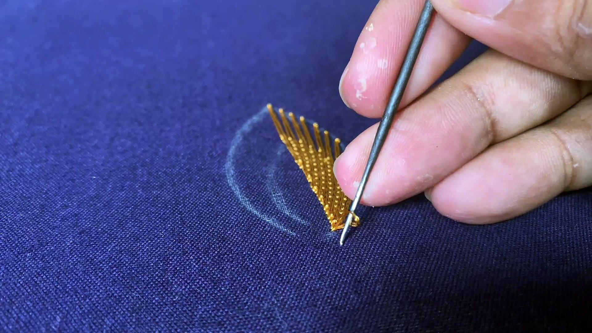 Aari embroidery fishbone stitch tutorial 20