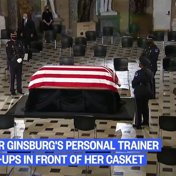 Watch- Ruth Bader Ginsburg's Personal Trainer Does Push-Ups In Front Of Casket
