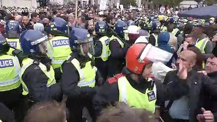Gent in cricket whites takes part in bloody and violent protest in London